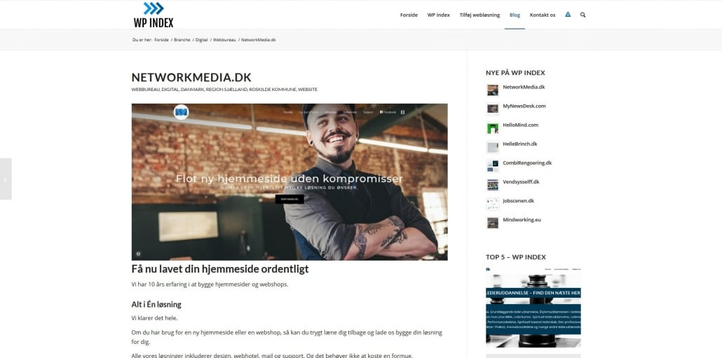 Nyeste medlem hos WP Index er Network Media ApS